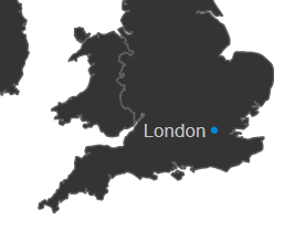 to your js vector map you can now plot cities by latitude and longitude here is an example with london plotted on the uk map latitude 515085300